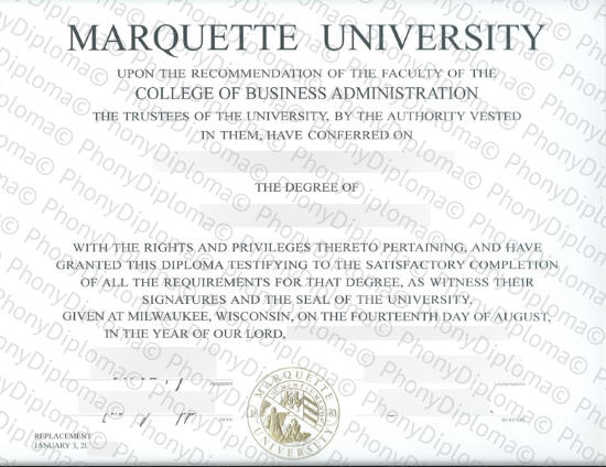 Usa Marquette University Free Sample From Phonydiploma