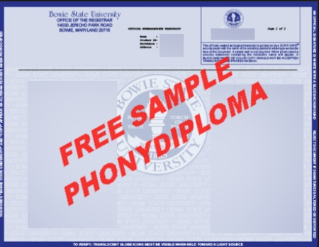 Usa Maryland Bowie State University Actual Match Transcript Free Sample From Phonydiploma