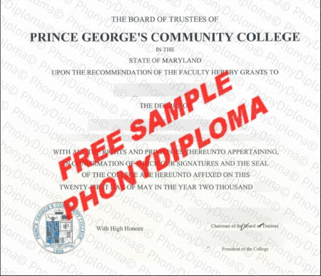 Usa Maryland Prince Georges Community College Fake Diploma Sample