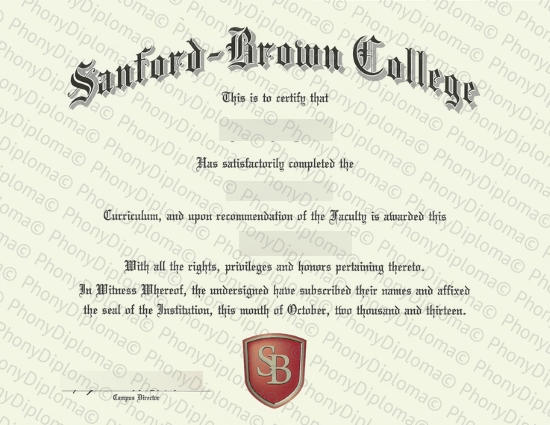 Usa Massachusettes Sanford Brown College Fake Diploma From Phonydiploma