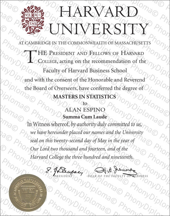 Usa Massachusetts Harvard University Free Sample From Phonydiploma
