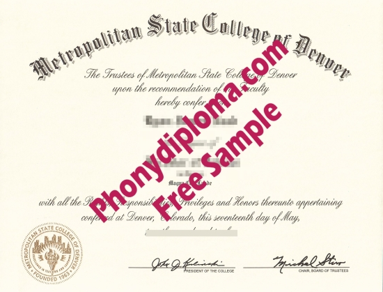 Usa Metropolitan State College Of Denver Free Sample From Phonydiploma