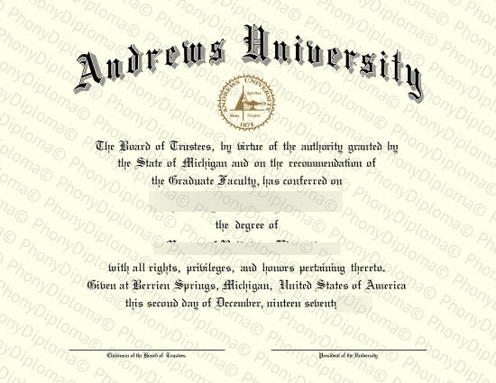 Usa Michigan Andrews University Free Sample From Phonydiploma