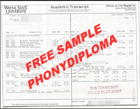 Usa Michigan Wayne State University Actual Match Transcript Free Sample From Phonydiploma