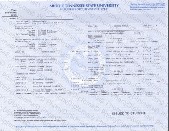Usa Middle Tennessee State University Actual Match Transcript Free Sample From Phonydiploma