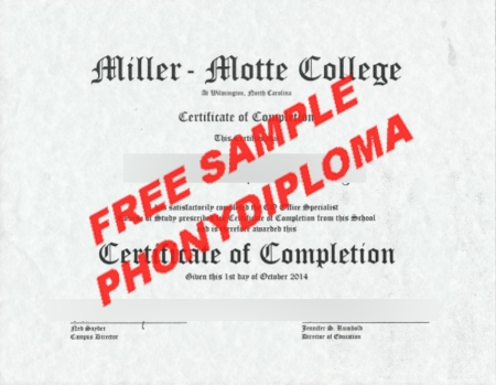 Usa Miller Motte College Free Sample From Phonydiploma