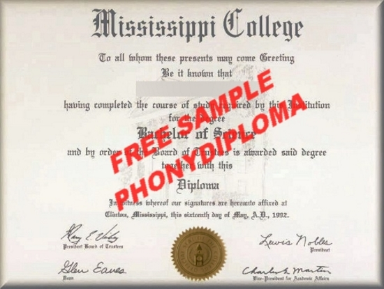 Usa Mississippi College Free Sample From Phonydiploma