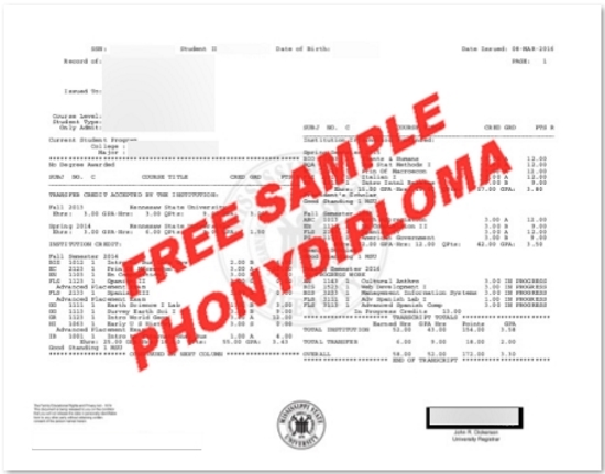 Usa Mississippi State University Actual Match Transcript Free Sample From Phonydiploma