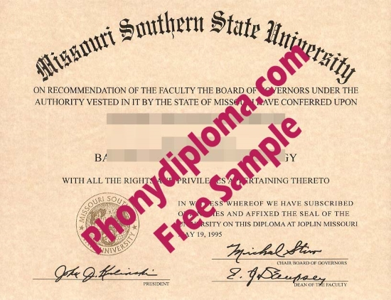 Usa Missouri Southern State Free Sample From Phonydiploma