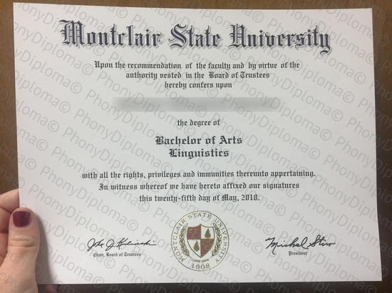 Usa Montclair State University Free Sample From Phonydiploma