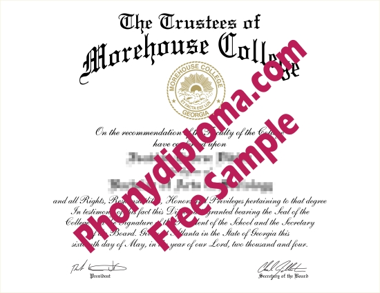 Usa Morehouse College Ga Free Sample From Phonydiploma