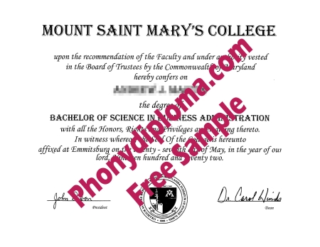 Usa Mount Saint Mary's College Free Sample From Phonydiploma
