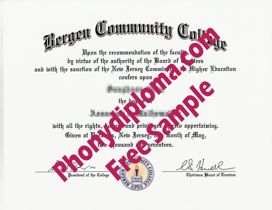 Usa New Jersey Bergen Community College Free Sample From Phonydiploma