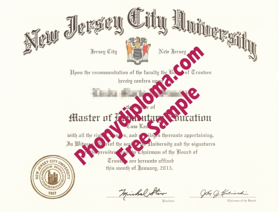 Usa New Jersey City University Free Sample From Phonydiploma