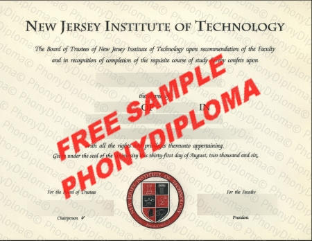 Usa New Jersey Institute Of Technology Free Fake Diploma Sample