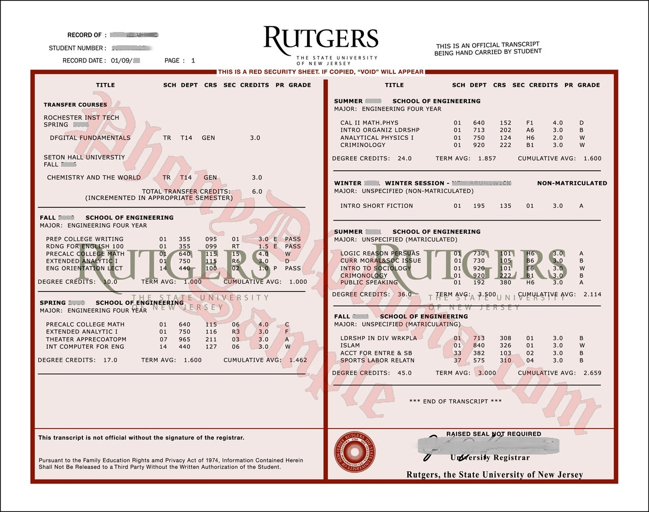 Usa New Jersey Rutgers Transcripts Actual Match Free Sample From Phonydiploma