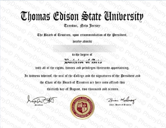 Usa New Jersey Thomas Edison State University Free Sample From Phonydiploma