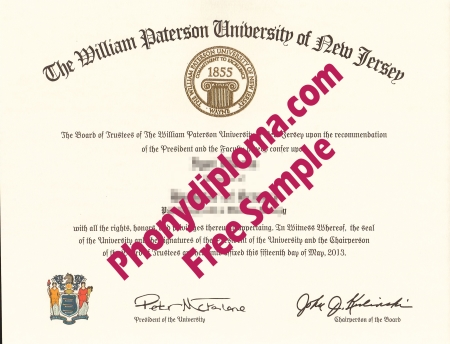 Usa New Jersey William Paterson University Free Sample From Phonydiploma