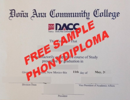 Usa New Mexico Dona Ana Community College Free Sample From Phonydiploma