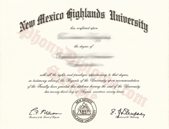 Usa New Mexico Highlands University Free Sample From Phonydiploma