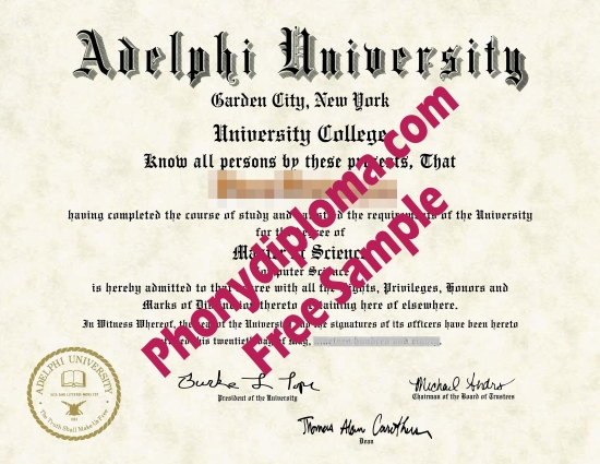 Usa New York Adelphi University Free Sample From Phonydiploma