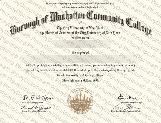 Usa New York Borough Of Manhattan Community College Free Sample From Phonydiploma