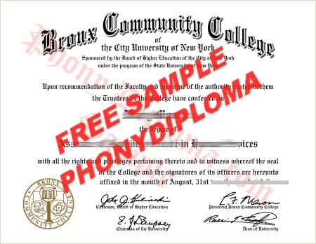 Usa New York Bronx Community College Free Sample From Phonydiploma