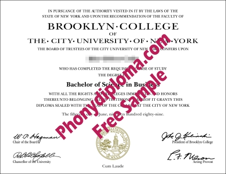 Usa New York Brooklyn College Free Sample From Phonydiploma