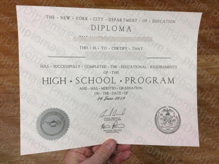 Usa New York Fake High School Diploma Photo