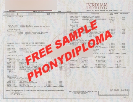 Usa New York Fordham University Actual Match Transcript Free Sample From Phonydiploma