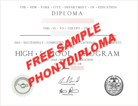 Usa New York High School Diploma Free Sample From Phonydiploma
