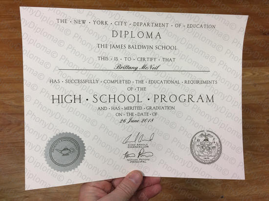 Usa New York High School Fake Diploma From Phonydiploma