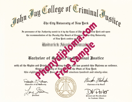 Usa New York John Jay College Of Criminal Justice Free Sample From Phonydiploma