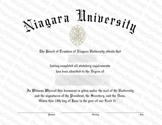 Usa New York Niagara University Free Sample From Phonydiploma