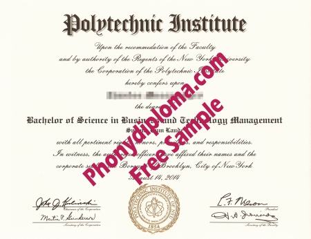 Usa New York Polytechnic Institute Free Sample From Phonydiploma