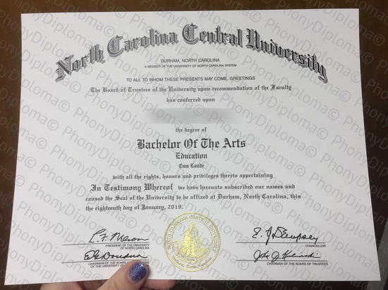 Usa North Carolina Central University (2)  Free Sample From Phonydiploma