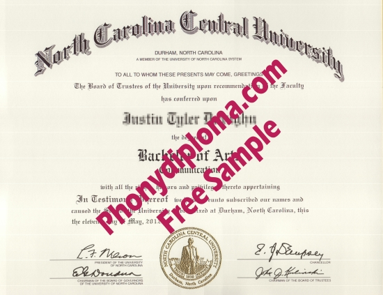 Usa North Carolina Central University Free Sample From Phonydiploma