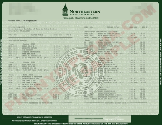 Usa Northeastern State University Actual Match Transcript Free Sample From Phonydiploma