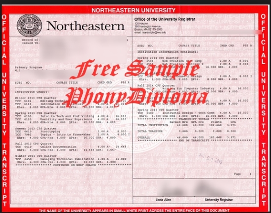 Usa Northeastern University Actual Match Transcript Free Sample From Phonydiploma