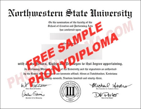 Usa Northwestern State University Free Sample From Phonydiploma