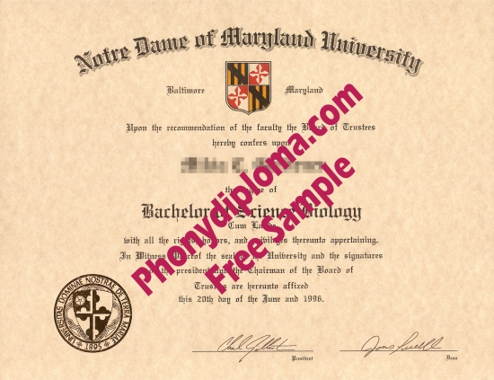 Usa Notre Dame Of Maryland University Free Sample From Phonydiploma