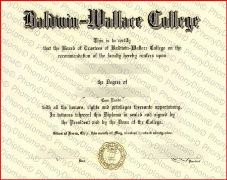 Usa Ohio Baldwin Wallace College Free Sample From Phonydiploma
