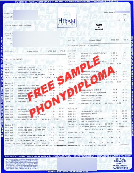 Usa Ohio Hiram College Actual Match Transcript Free Sample From Phonydiploma