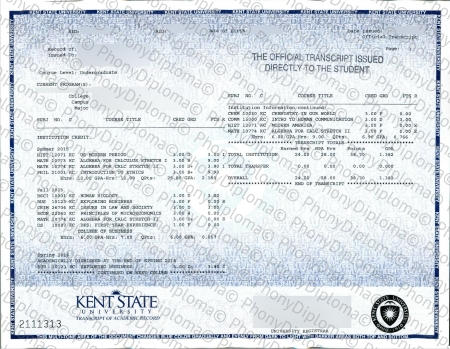 Usa Ohio Kent State Actual Match Transcript Free Sample From Phonydiploma