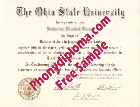 Usa Ohio State University Free Sample From Phonydiploma