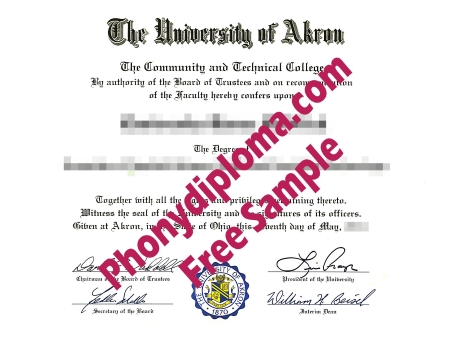 Usa Ohio The University Of Akron Free Sample From Phonydiploma