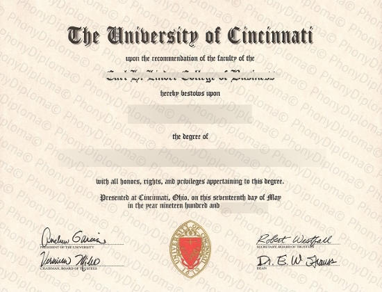 Usa Ohio University Of Cincinnati Fake Diploma From Phonydiploma