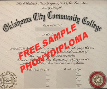 Usa Oklahoma City Community College Free Fake Diploma Sample