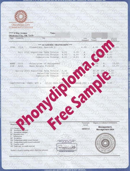 Usa Oklahoma City Community College House Design Transcript Free Fake Sample