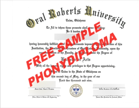 Usa Oral Roberts University Free Sample From Phonydiploma